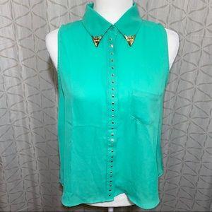 Cute Turquoise Sleeveless Top